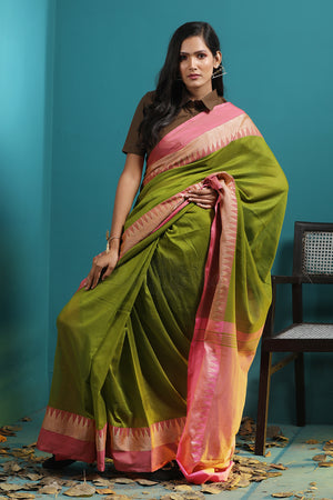Green Pure Cotton Saree With Temple Border