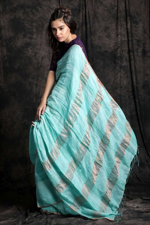 Light Blue Linen Saree With Zari
