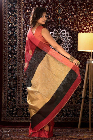 Scarlet Red Blended Cotton Saree With Golden Pallu Akasha Roopkatha - A Story of Art