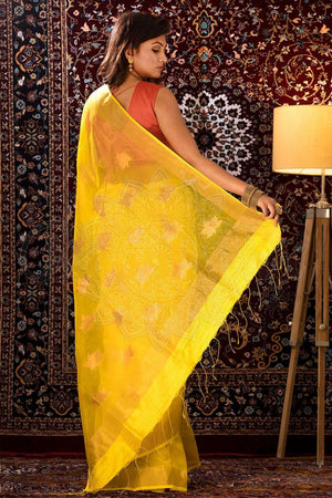Yellow Resham Silk Saree Kriti Classics Roopkatha - A Story of Art