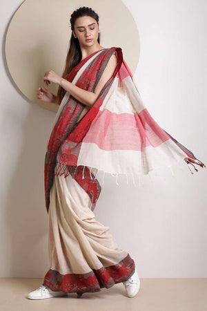 Beige Cotton Saree With Woven Design