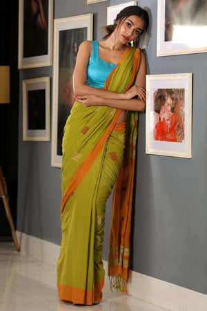 Chartreuse Green Cotton Saree With Yam Orange Border