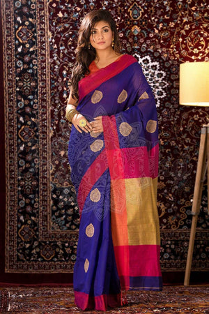 Indigo Blue Blended Cotton Saree With Fuchsia Border Akasha Roopkatha - A Story of Art