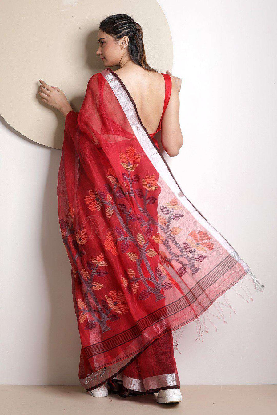 Red Organic Linen Saree With Floral Pallu