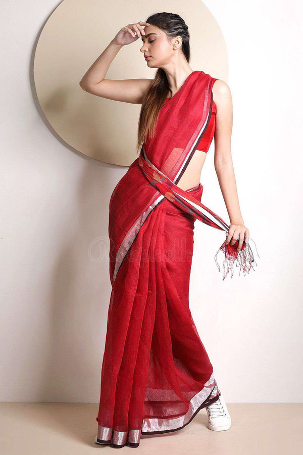 Red Organic Linen Saree With Floral Pallu Earthen Collection Roopkatha - A Story of Art