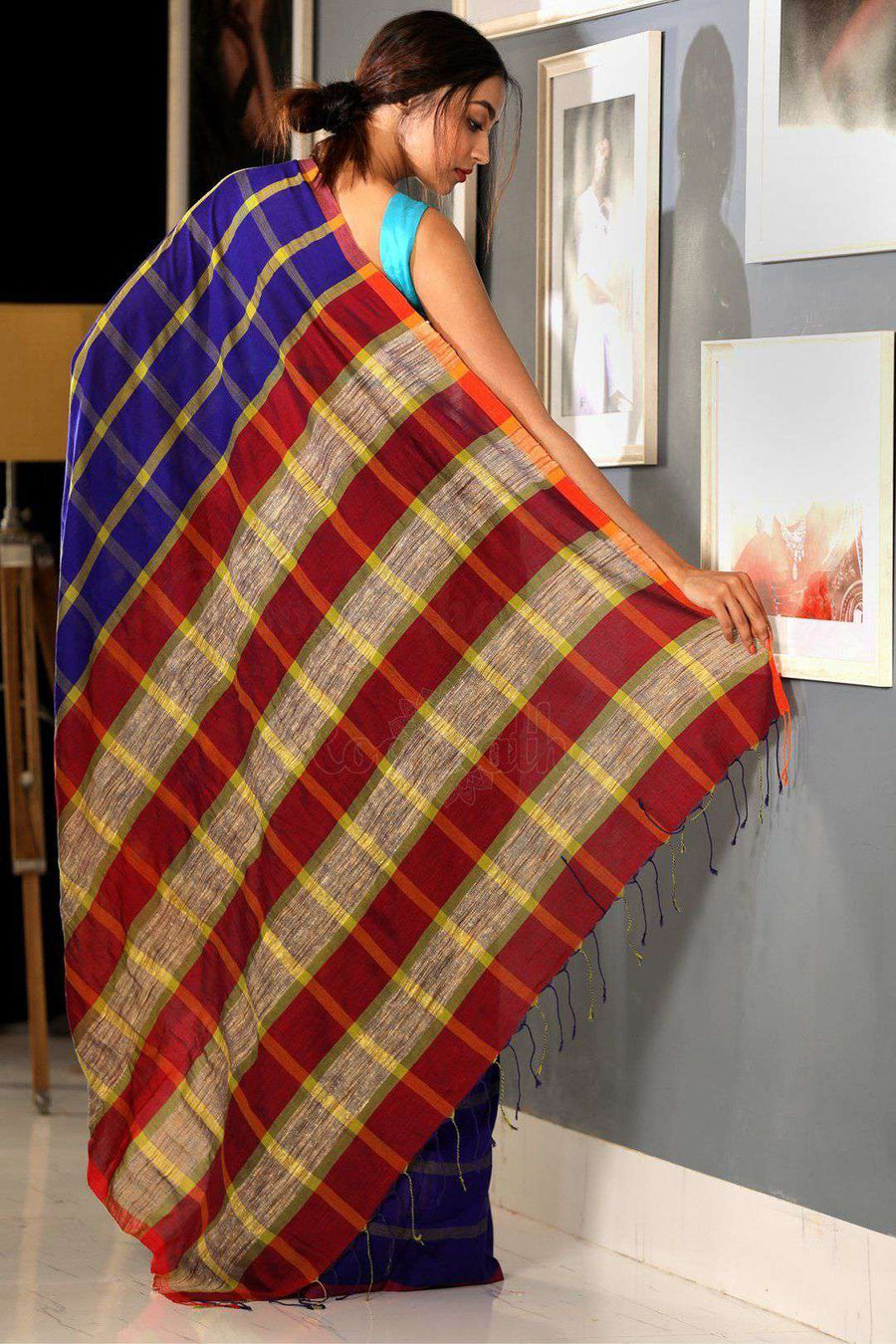 Berry Blue Checkered Cotton Saree Cotton Threads Of India Roopkatha - A Story of Art