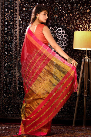 Red Blended Cotton Saree With Woven Pallu
