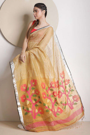Beige Organic Linen Saree With Zari Earthen Collection Roopkatha - A Story of Art