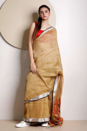 Beige Organic Linen Saree With Zari