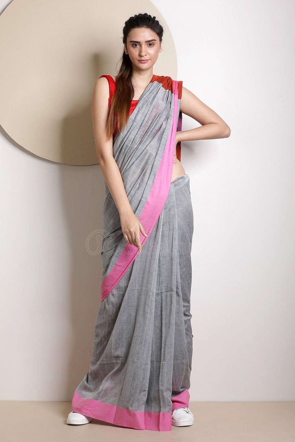 Grey Cotton Saree With Plain Border Cotton Threads Of India Roopkatha - A Story of Art
