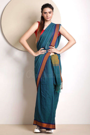 Blue Cotton Handloom Saree With Border