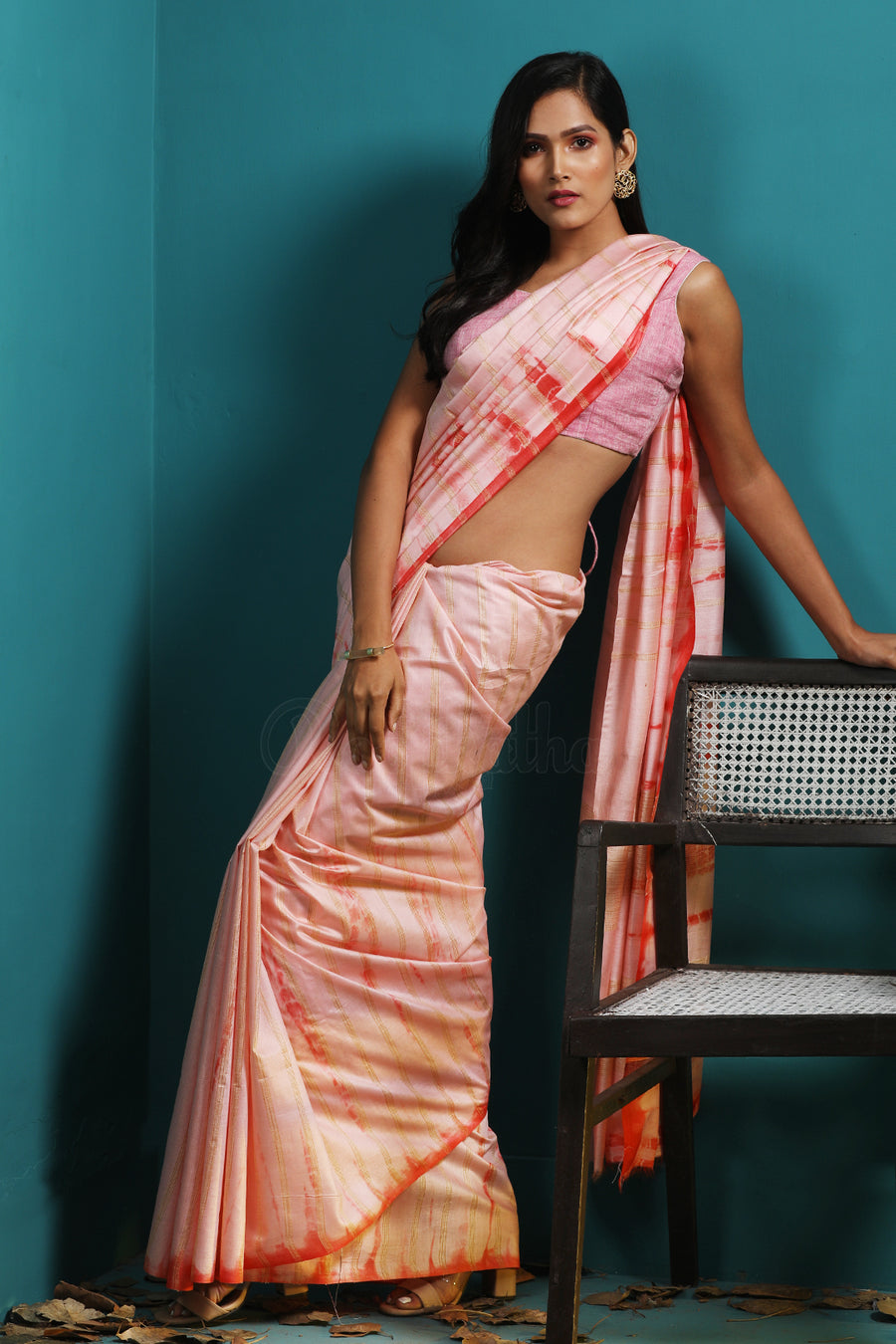 Baby Pink Blended Kota Saree With Red Shibori Highlights & Stripes