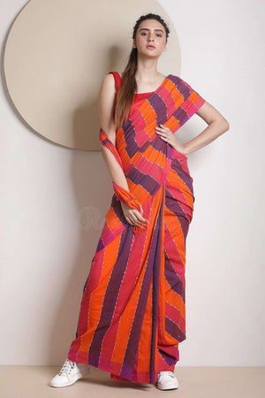 Orange & Blue Stripes Blended Cotton Saree