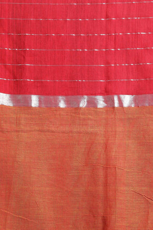 Yellow & Red Blended Cotton Saree With Check Akasha Roopkatha - A Story of Art