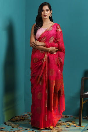 Red Chanderi Cotton Saree With Zari Motifs