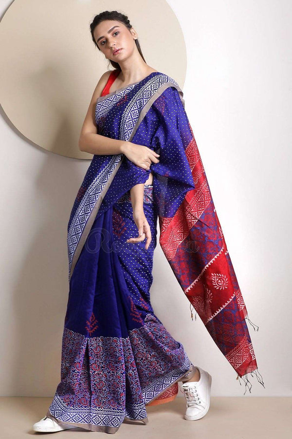 Indigo Blended Cotton Saree With Handblock Prints