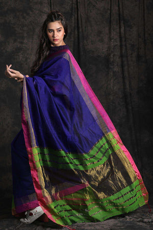 Blue & Green Blended Cotton Saree With Zari