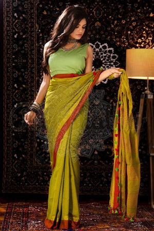 Sap Green Blended Cotton Saree With Pom-Pom