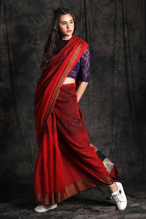 Red Blended Cotton Saree Striped Pallu