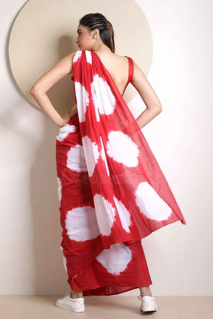 Red & White Tie Dye Saree