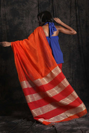Orange Blended Cotton Saree Striped Pallu Akasha Roopkatha - A Story of Art