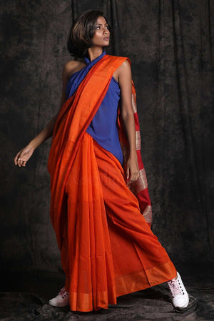Orange Blended Cotton Saree Striped Pallu