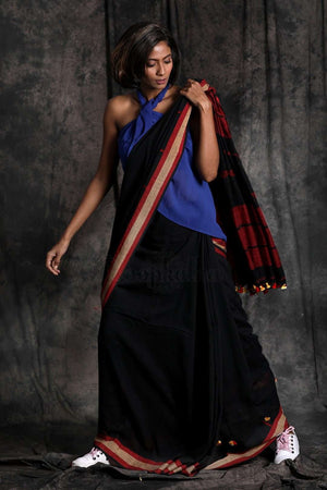 Black Pure Cotton Saree With Pompom