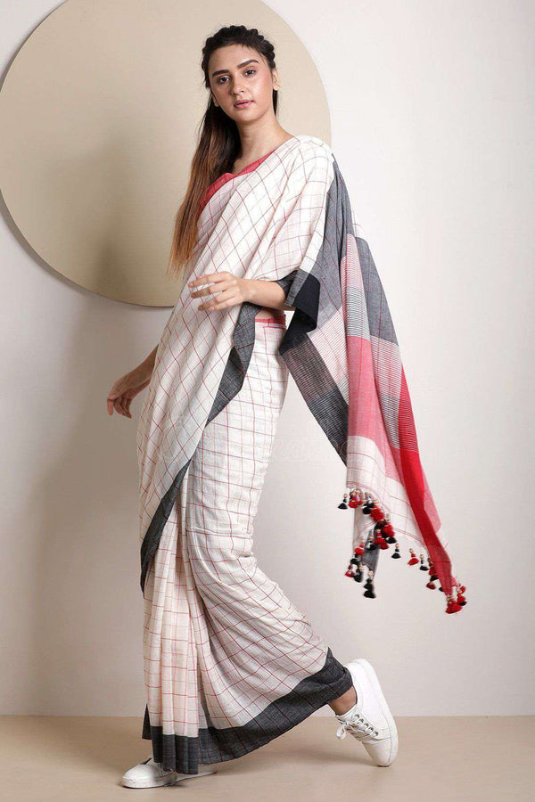 White Cotton Saree With Check Design Cotton Threads Of India Roopkatha - A Story of Art