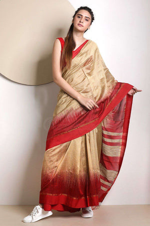 Beige Blended Cotton Saree With Red Border Akasha Roopkatha - A Story of Art