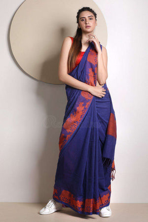 Blue Cotton Saree With Woven Border
