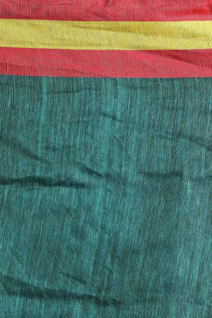Teal Blue Linen Saree With Floral Pallu Earthen Collection Roopkatha - A Story of Art