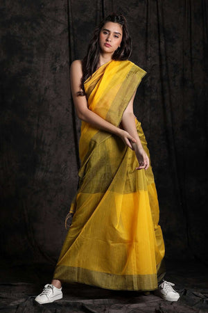 Yellow Blended Cotton Saree With Striped Pallu