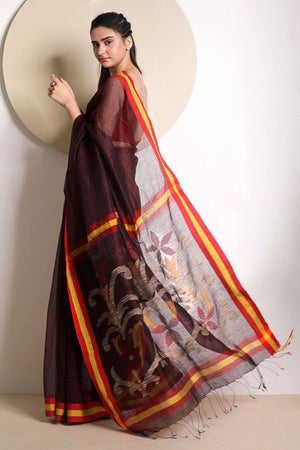 Hickory Brown Linen Saree With Floral Pallu Earthen Collection Roopkatha - A Story of Art
