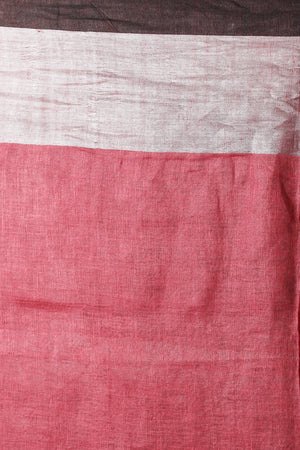 Pink Linen Saree With Zari Border & Striped Pallu