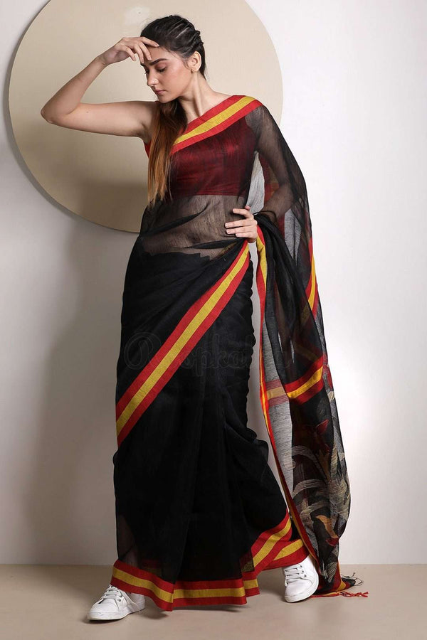 Black Linen Saree With Jamdani Pallu Earthen Collection Roopkatha - A Story of Art