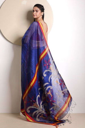 Royal Blue Linen Saree With Jamdani Pallu Earthen Collection Roopkatha - A Story of Art