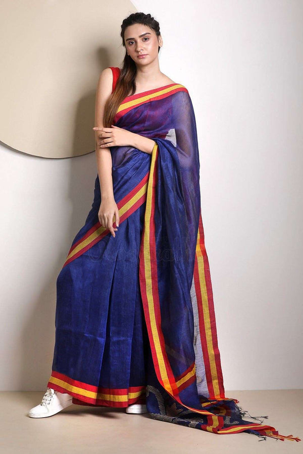 Royal Blue Linen Saree With Jamdani Pallu