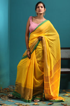 Yellow Pure Cotton Saree With Striped Pallu