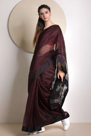 Pecan Brown Linen Saree With Jamdani Pallu