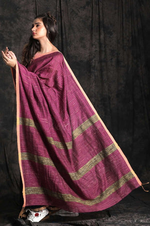 Dual Color Cotton Saree With Ghicha