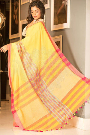 Pale Yellow Organic Cotton Handloom Saree With Pom Pom Border Cotton Threads Of India Roopkatha - A Story of Art