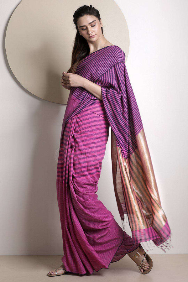 Salmon Pink & Blue Striped Pure Cotton Saree With Zari Pallu Cotton Threads Of India Roopkatha - A Story of Art
