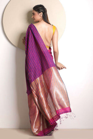 Striped Pure Cotton Saree With Zari Pallu Cotton Threads Of India Roopkatha - A Story of Art