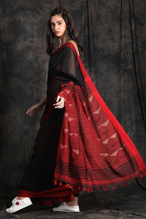 Black Tone Cotton Saree With Woven Pallu Cotton Threads Of India Roopkatha - A Story of Art