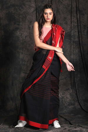 Black Tone Cotton Saree With Woven Pallu