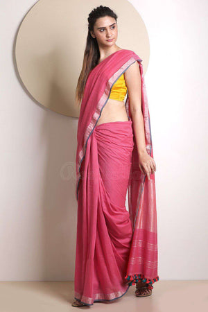 Pink Pure Cotton Saree With Zari Border