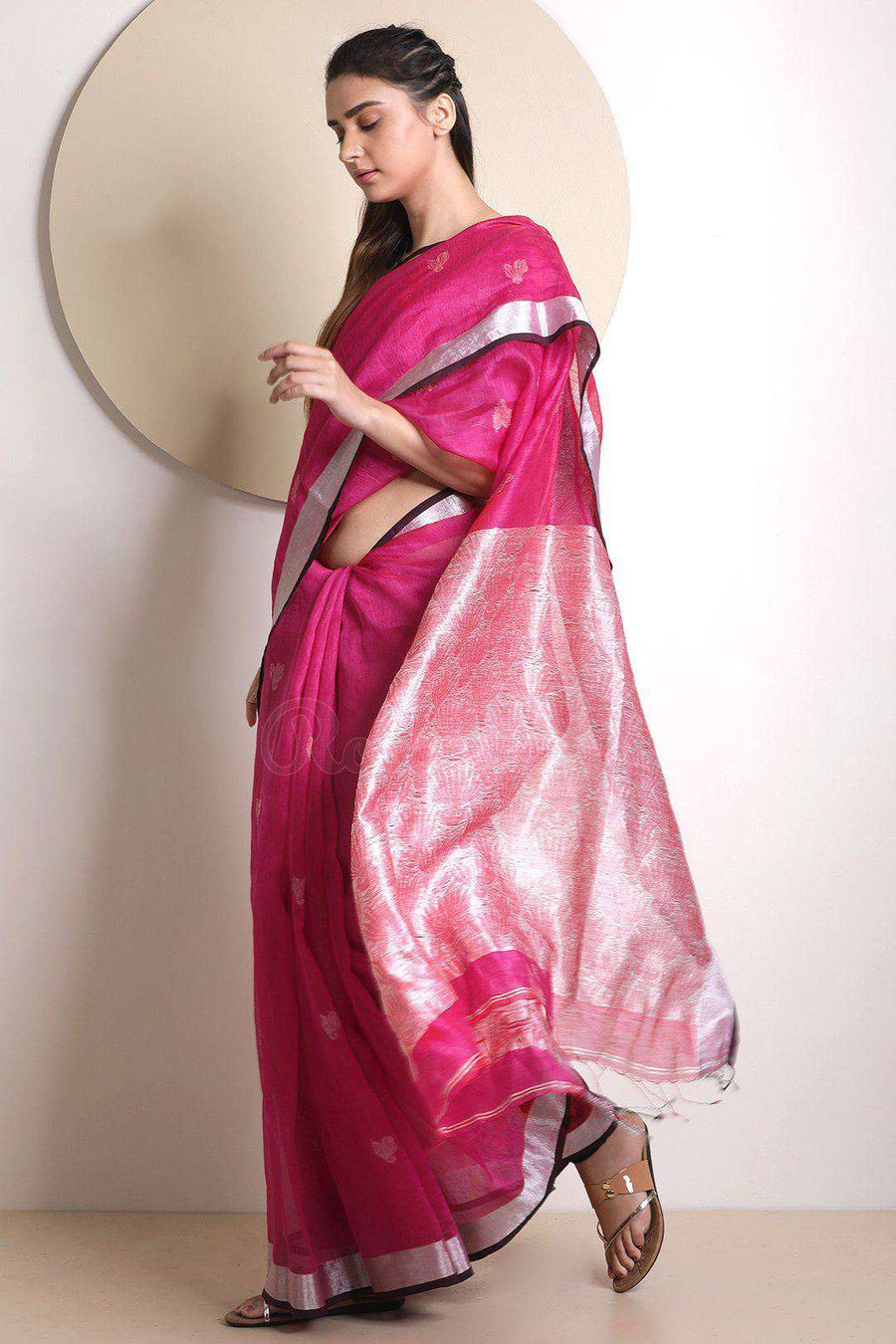 Dark Pink Linen With Zari Border Earthen Collection Roopkatha - A Story of Art