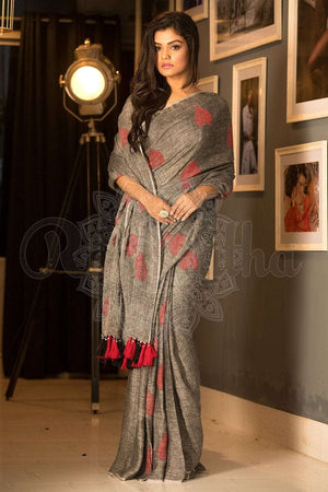 Grey & Red Linen Saree