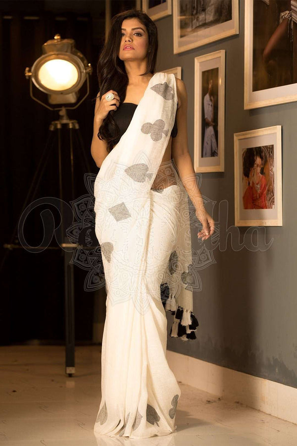 White Organic Linen Saree With Jamdani Work
