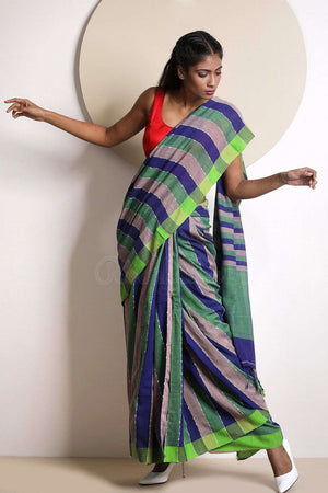 Green & Blue Striped Blended Cotton Saree